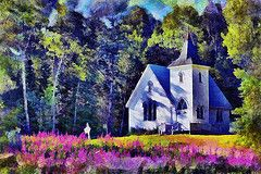 Church with Purple Flowers
