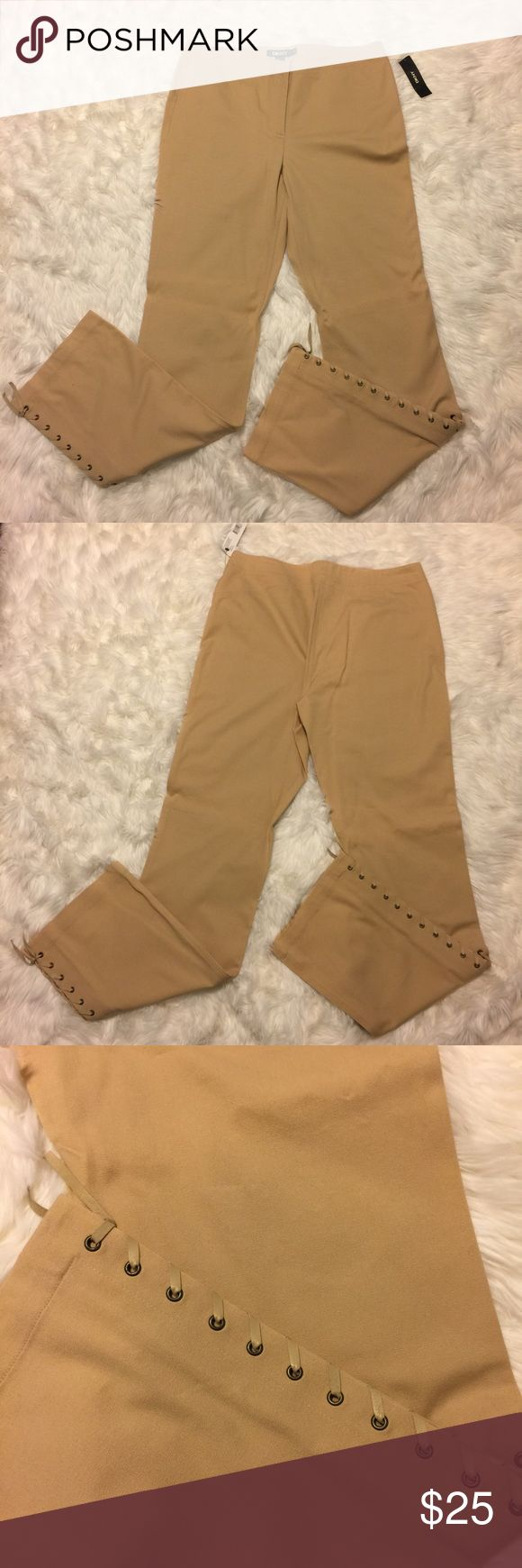 """DKNY Lace Up Side Khaki Colored Pants Jeans 10 Great Pant by DKNY. Khaki color pant, almost a jean. Size 10. 10"""" rise 33.5"""" inseam. Never worn, new with tags! 95% cotton, 5% Spandex. Great with a flowy blouse and heals for an easy office to night look! DKNY Pants"""