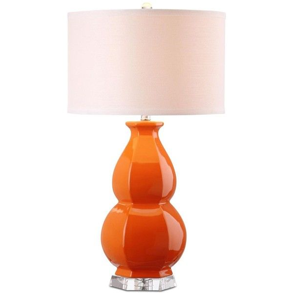 Safavieh Juniper Table Lamp ($155) ❤ liked on Polyvore featuring home, lighting, table lamps, orange, orange table lamp, orange lamp, double gourd table lamp, safavieh and colored lights