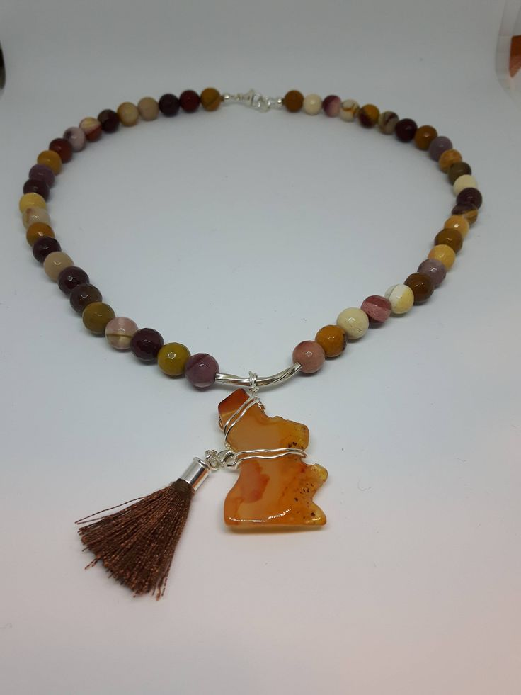 Excited to share the latest addition to my #etsy shop: Snoopy necklace,Faceted Mookaite bead necklace,Brown necklace,Animal symbol,Tassel necklace,Gift for her,Girls jewelry,Dog lovers,Casual http://etsy.me/2nPMVMk #jewelry #necklace #brown #lobsterclaw #gemstone #no #