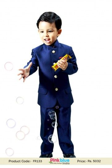 Little Prince Royal Blue Jodhpuri Bandhgala Suit For