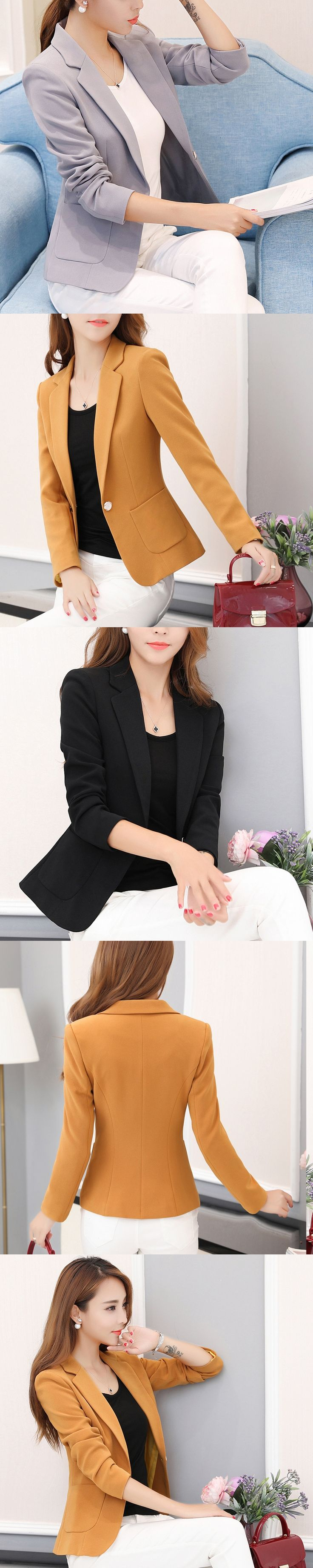 Hot Sale Women Blazers And Jackets Spring Autumn Casual Women Suits Single Button Solid Female OL Office Blazer Plus Size