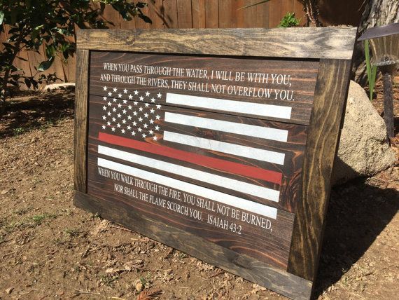 Firefighter Board With Bible Verse and American by FaithRevealed