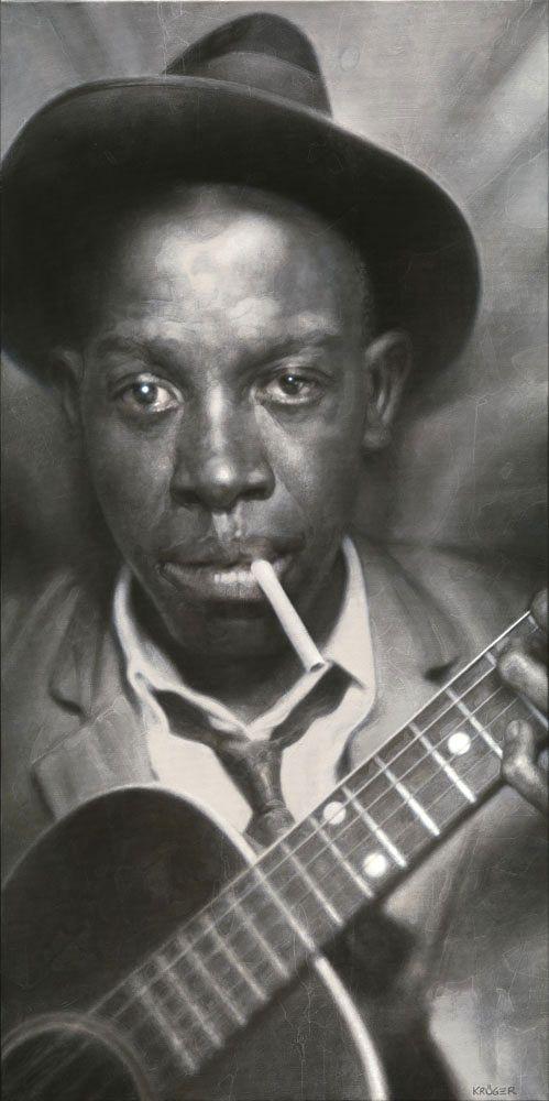 Robert Johnson by Sebastian Kruger http://oigofotos.wordpress.com/2013/07/12/oscuras-leyendas-del-blues-robert-johnson-entre-cruces-de-caminos-y-pactos-con-el-diablo/