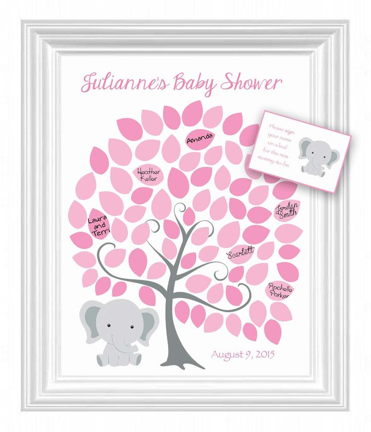 sign in tree poster elephant theme baby shower guest book alternative