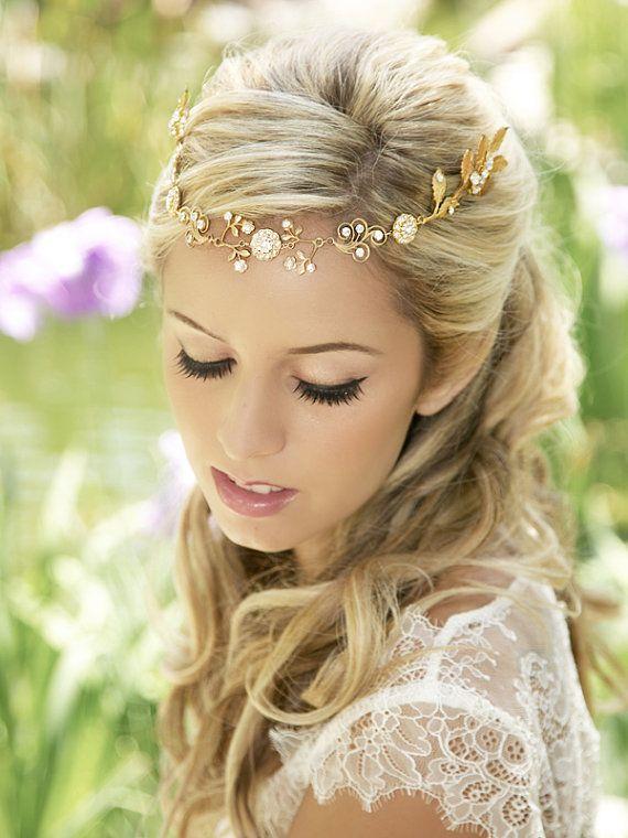 Gold Forehead band, Bridal Halo, Rhinestone headpiece, Gold Crystal Brial Headband, Forehead Chain, Bohemian Bride, Gold Halo