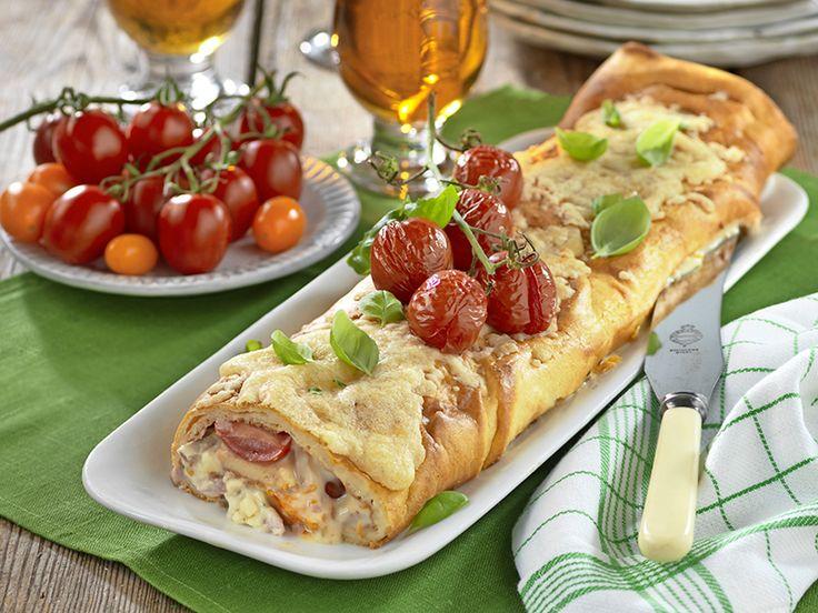 Pannkaksrulle med skinka och ost