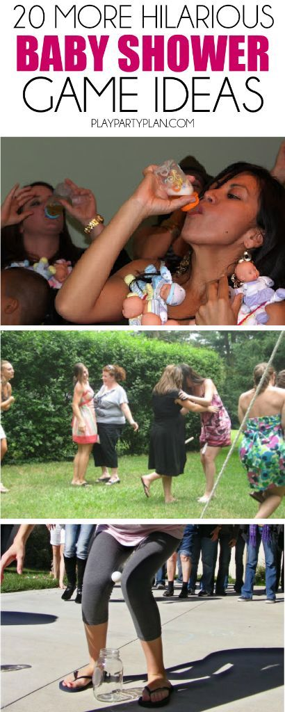 20 MORE hilarious baby shower games with everything from active baby shower games to printable baby shower games! Tons of great ideas on http://playpartyplan.com.