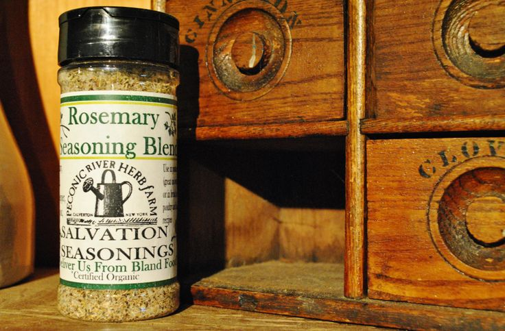 Rosemary Seasoning Blend - Use in potato dishes (great on oven fries!) or in bread soups, poultry, and lamb recipes. $7.95    Find it in the Outside In garden shop at the Peconic River Herb Farm!   #deliverusfromblandfood