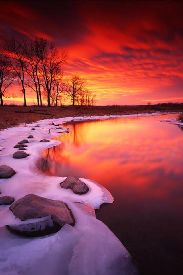 photo: ruby sunset .... winter scene ...