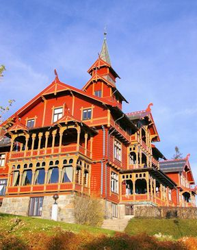 """Holmenkollen Park Hotel in Oslo, Norway. Built in 1894, this is a prime example of Dragestil (""""Dragon Style"""") Scandinavian architecture (popular between 1880-1910)"""