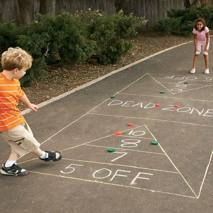 Kick the Disk and loads of other great outside games from spoonful. Some of these would great for a kids party.