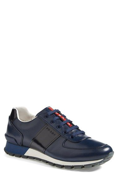 Prada Leather Sneaker (Men) available at #Nordstrom