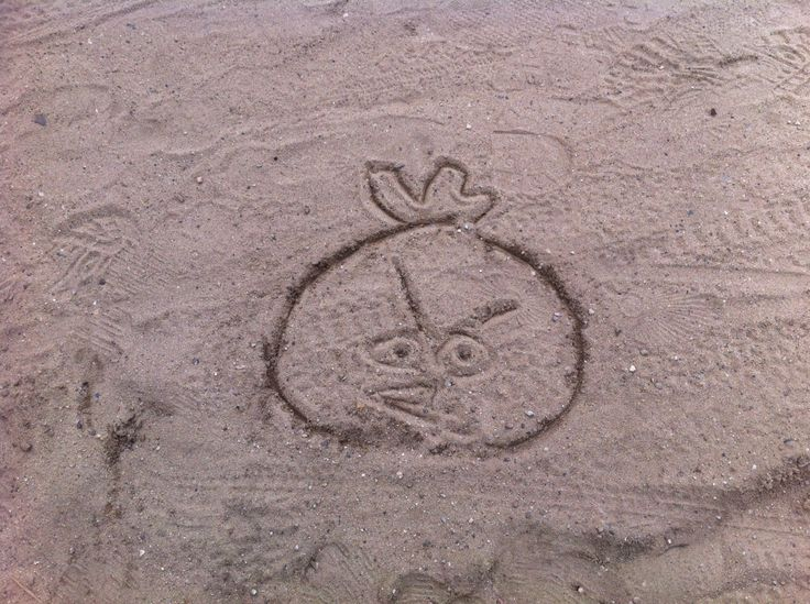 My 5 yr old kid drawing Angry bird in the sand