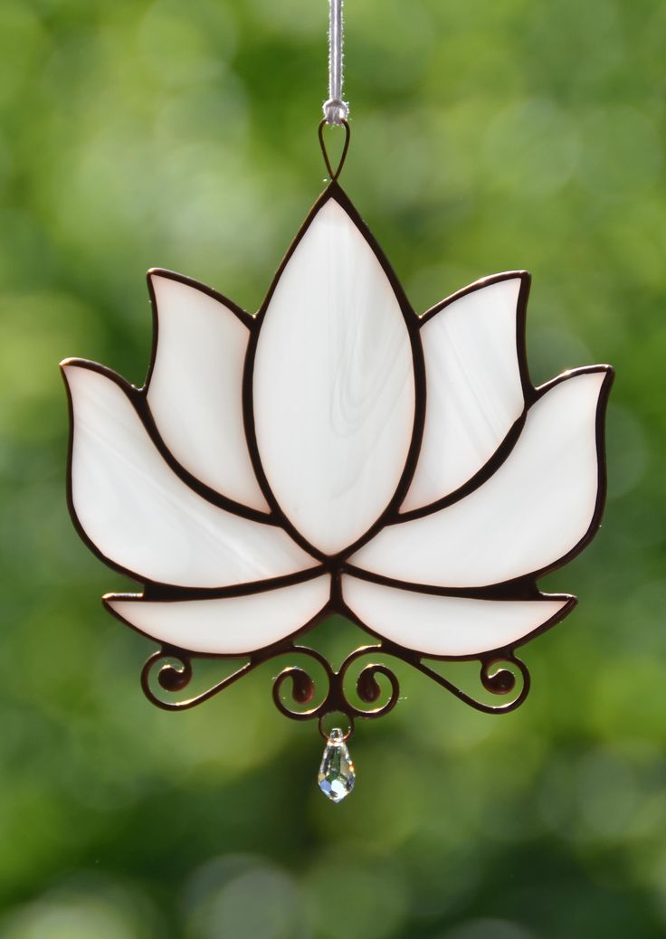 Stained glass lotus flower, Swarovski crystal suncatcher, water lily hanging window decoration