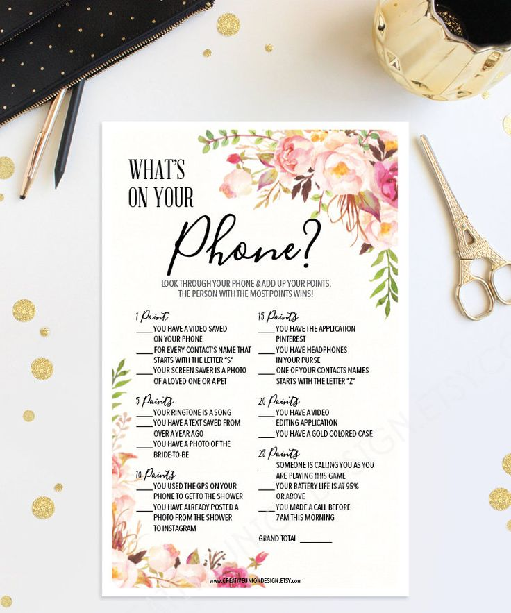 blank beach bridal shower invitations%0A Best Bridal Shower Games  What u    s On Your Phone Game by  CreativeUnionDesign Etsy com