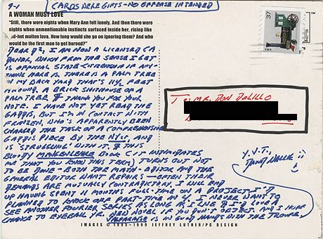David Foster Wallace's postcard to Don DeLillo.