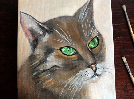 Original Oil Art Cat With Green Eyes Painting by BarbaraGallery