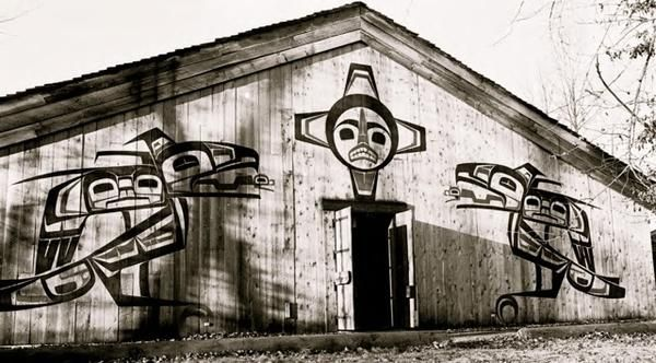 Painted designs on houses at 'Ksan Historical Village.