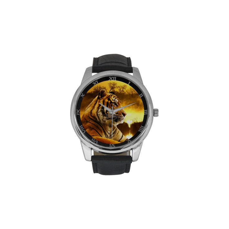 Tiger and Sunset Men's Leather Strap Large Dial Watch