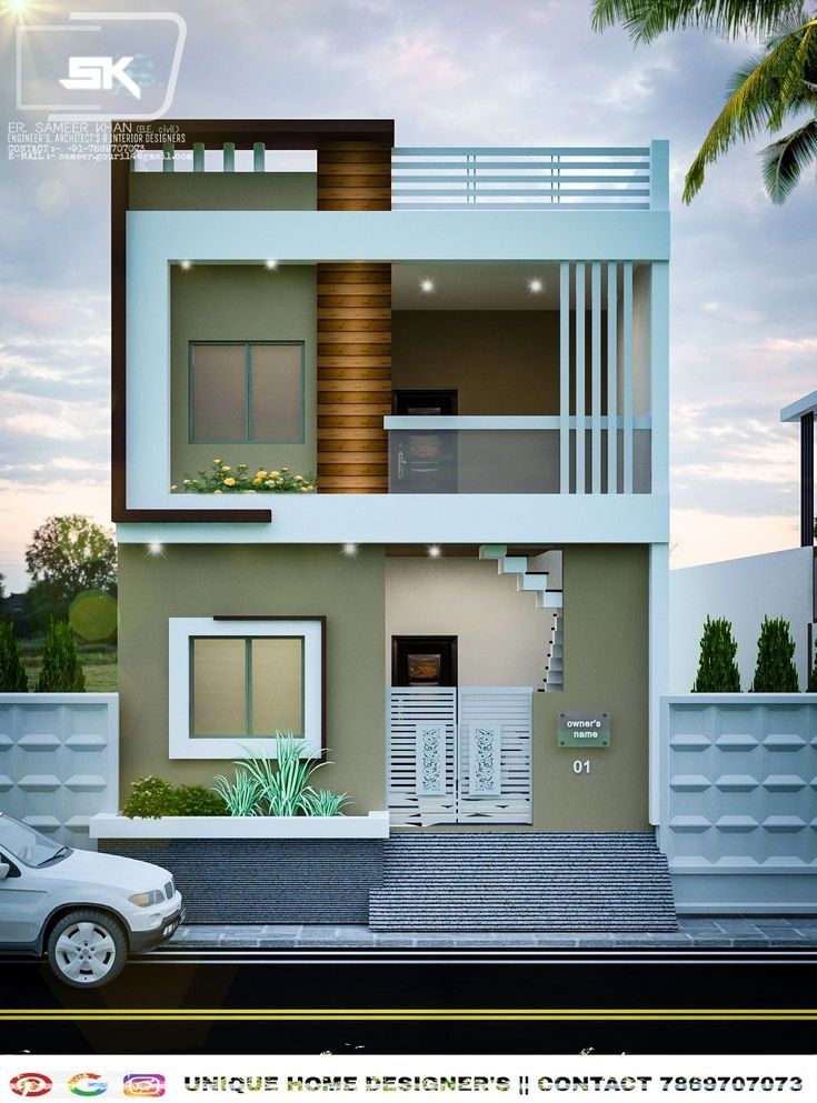 Modern house exterior elevation of G+1 house By Er. Sameer ...