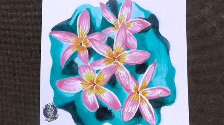 Flor Frangipan, Acrílico sobre papel acuarela. Diseño/ Idea para tattoo Disponible!!!. Sebastian Marin. Tattoo Athenea.