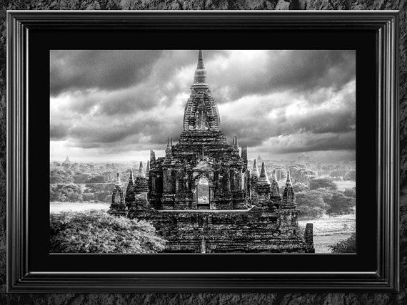 Fine Art Photography Buddhist Temple Black and by NadbradDesigns