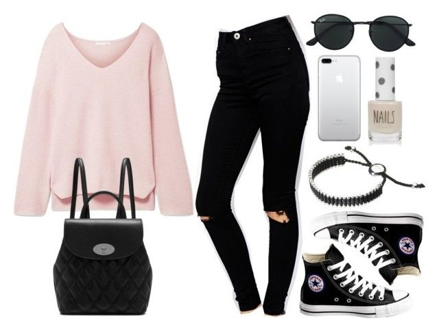 """""""Sin título #14587"""" by vany-alvarado ❤ liked on Polyvore featuring ASOS, Skin, Converse, Mulberry, Ray-Ban, Links of London and Topshop"""