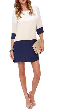 Color blocking with navy. classy color-block shift dress - love the navy, beige, white combo