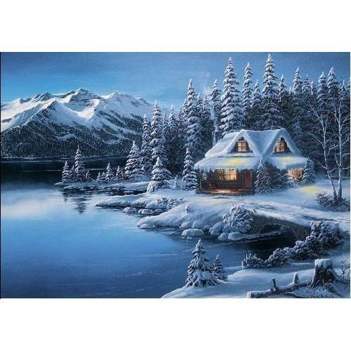 Log Cabin Christmas Winter Scene | Log Cabin Winter Scenes | Geographic Winter Cabin Scene Christmas Card ...