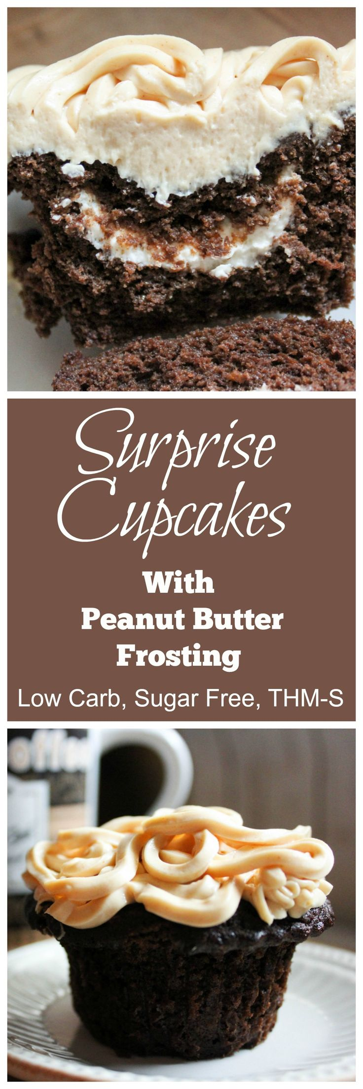 Surprise Cupcakes with Peanut Butter Frosting {THM-S, Low Carb, Sugar Free}