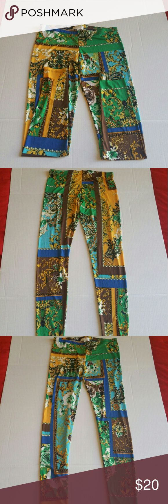 Fun colorful leggings Design pattern similar to Versace pattern, but fun collection from Corrida of Los Angeles. New, never worn. Removed tag to wash with intention to wear, but never did. Corrida Other
