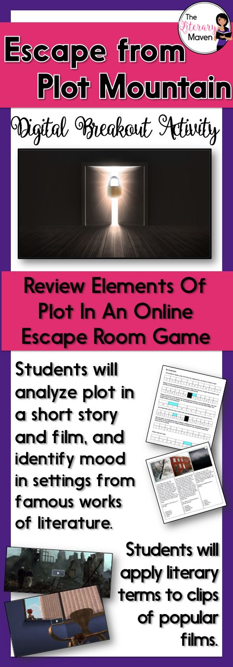 Looking for a new way for students to practice plot and setting terms? This digital breakout is intended to reinforce plot, chronological order, flashbacks, flashforwards, foreshadowing, setting, mood, conflict, exposition, rising action, climax, falling action, and resolution. In this Escape Room-like game, students will interact with a variety of text and media, including one of Aesop's fables, a short film, descriptions of settings in excerpts of famous literature, and clips...