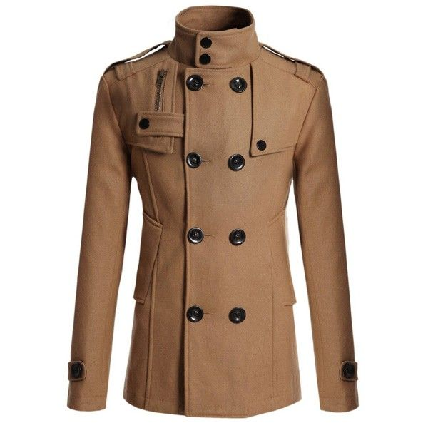 Mens Fashion British Style Coat Solid Color Woolen Double Breasted Casual Long Jacket Online - NewChic Mobile.