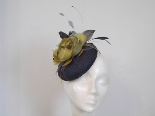 Dark Grey Straw Pillbox Hat Fascinator With by RachelWykesMilliner