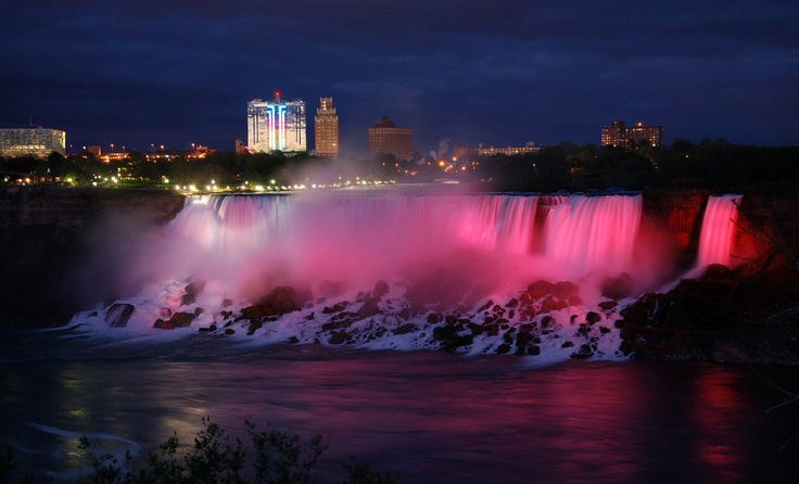 Niagara Falls in Winter is Spectacular, The lights on the snow are really beautiful and at Christmas time there is a fabulous light show in the park across from the Falls. www.cairncroft.com #niagara #falls #winer #lights #attraction #beautiful #scenery #travel #tourism