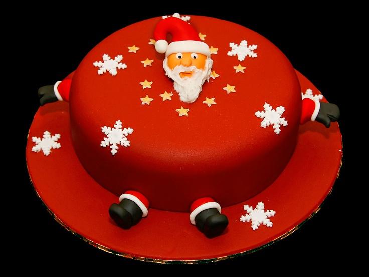 Image detail for -Santa Christmas Cake with father Christmas, snowflake and stars