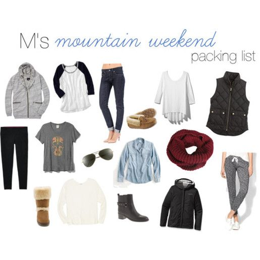 K's Mountain Weekend Packing List on MK Cheers