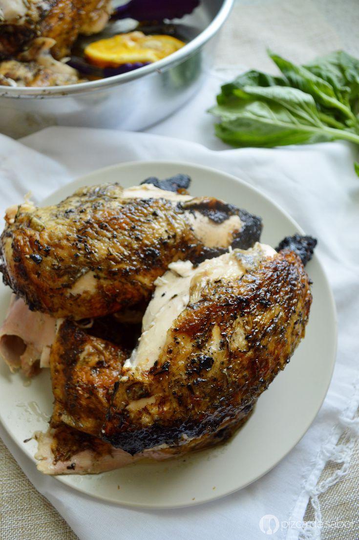 Recetas con pollo a la parrilla - pollo asado: Pollo asado sentado a la naranja y romero
