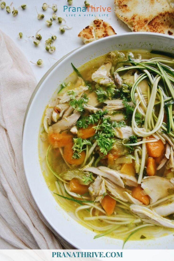 Gut Healing Chicken Soup W Zoodles Recipe Healing Soup Healthy Recipes Bone Broth Soup