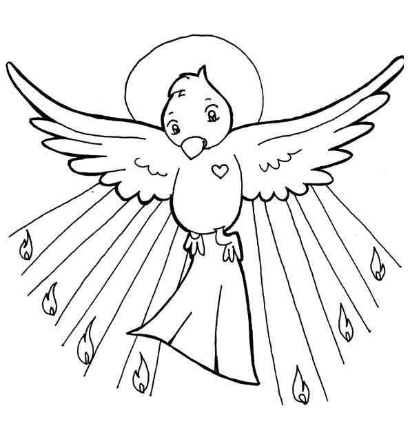 Holy Spirit Pentecost Catholic Coloring Page