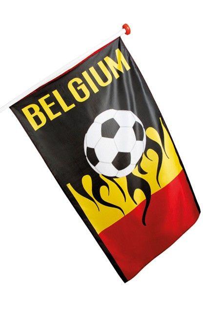 Vlag Belgie WK Voetbal 90x150cm Geschikt voor vlaggenstok 1,5 tot 2m het standaard formaat vlag voor aan de gevel gevelvlag De Fanvlag voor alle fans van de Rode duivels