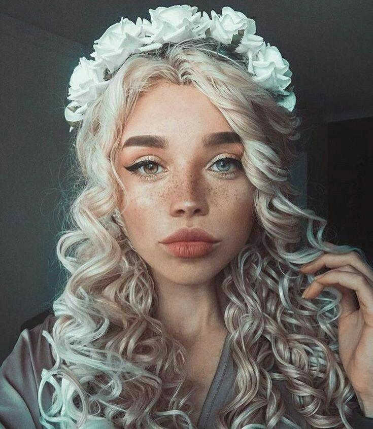 White Girl Light Blonde Curlys White Flower Crown One Eye Brown