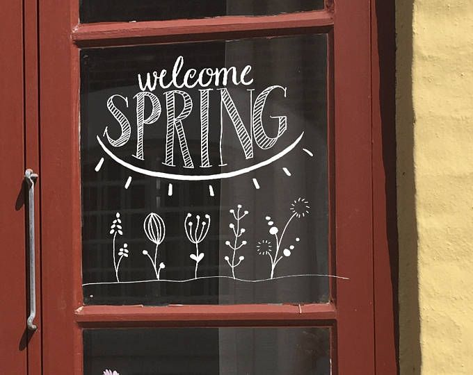Windowdrawing Think Spring, Spring quote, Spring chalkdrawing, chalkpen, dandelion, fluff Windowdrawing Think Spring Spring quote Spring chalkdrawing | Etsy