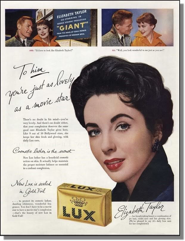 1956 Lovely Movie Star Elizabeth Taylor - Lux Soap Ad