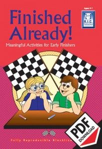 Finished Already lower Primary. Ebook PDF. Early finisher and fast finisher ideas, activities and worksheets. Download today!