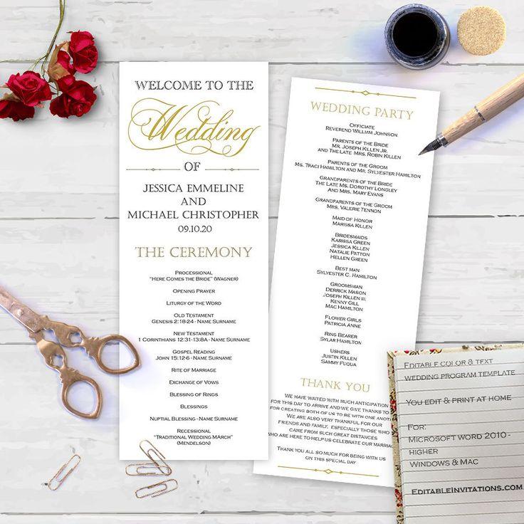 wedding programs templates for microsoft word