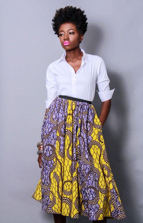 #Spring and #Summer #Trends: Full skirt..-TMC~~ The Shavon African Print by DemestiksNewYork