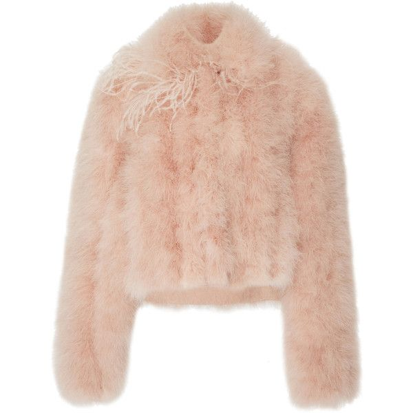 Marabou Jacket | Moda Operandi (40 390 ZAR) ❤ liked on Polyvore featuring outerwear, jackets, pink bomber jackets, long sleeve jacket, pink jacket, bomber style jacket and bomber jackets