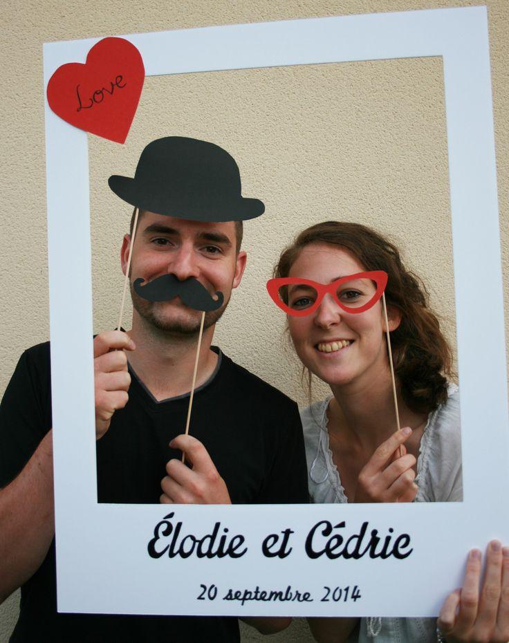 Photobooth cadre polaroïd pour mariage et 3 accessoires par crea-graphic